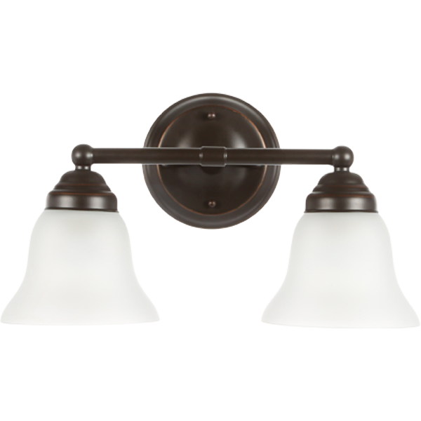 Hampton Bay Ashhurst 2 Light Oil Rubbed Bronze Vanity Light With Frosted Glass Shades Egm1392a 3 Orb The Home Depot